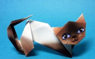 Як зробити орігамі кішку