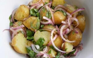 Німецький салат з картоплі і солоних огірків і ковбаси копченої