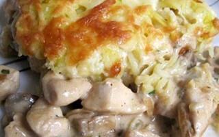 Картопля з куркою і грибами в духовці під сиром