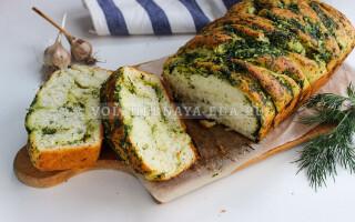 Хліб з часником і зеленню в духовці рецепт з фото крок за кроком