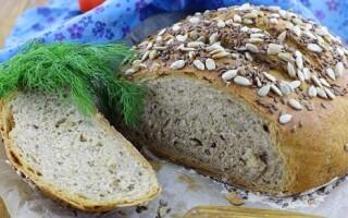 Хліб з цільнозерновий борошна з насінням в духовці рецепти