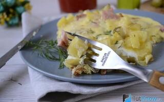Картопля з яйцем на сковороді