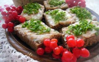 Намазка на хліб з сала з часником і зеленню рецепт