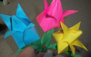 Як зробити тюльпан з паперу орігамі