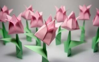 Як зробити тюльпан з паперу