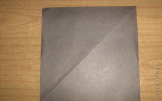Як зробити гайвороння з паперу орігамі