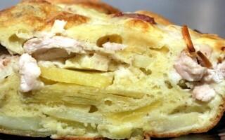 Пиріг на кефірі з картоплею в духовці