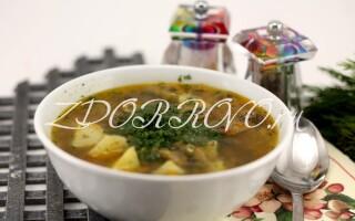 Суп з печерицями та картоплею рецепт на м'ясному бульйоні